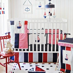 My Baby Sam Ahoy Mate 4-piece Crib Bedding Set