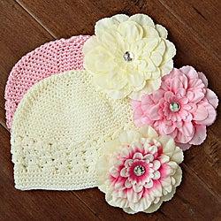 Pink and Cream Kufi 5-piece Hat Set
