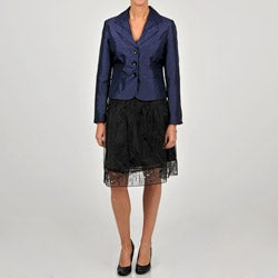 Sharagano Women's Purple/ Black Shantung Jacket Embellished Skirt Suit