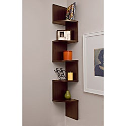 Laminated Walnut Veneer Corner Wall Mount Shelf