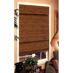 Louvera Rustic Brown Roman Shade (27 in. x 72 in.)