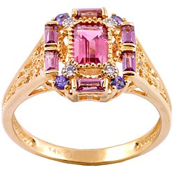 Michael Valitutti 14k Gold Multi-gemstone and Diamond Accent Ring