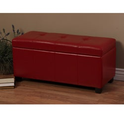 Warehouse of Tiffany Ariel Red Faux-Leather Button-Tufted Storage Bench