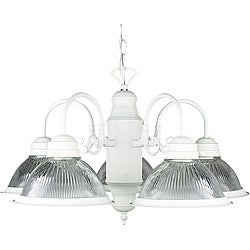 Five-light Textured White Chandelier