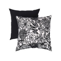 Pillow Perfect Decorative Black/White Flocked Floral Square Toss Pillow