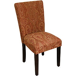 Classic Parson Red/ Gold Damask Fabric Dining Chair
