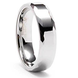 Men's Tungsten Triangular Faceted Edge Ring (6 mm)