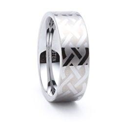 Men's Tungsten Celtic Laser-etched Ring (8 mm)