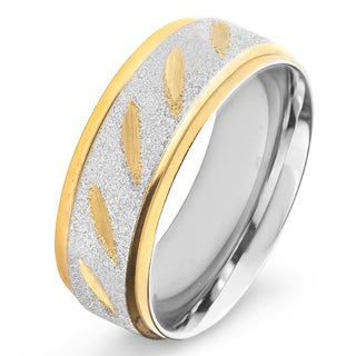 Stainless Steel Goldplated Grooved Ring (8mm)