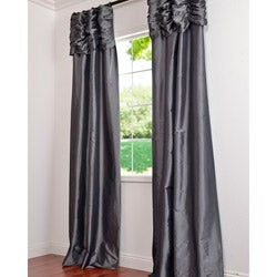 Platinum Ruched Header Faux Silk Taffeta 96-inch Curtain Panel