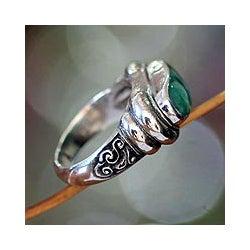 Men's Sterling Silver 'Wisdom' Jade Ring (Indonesia)