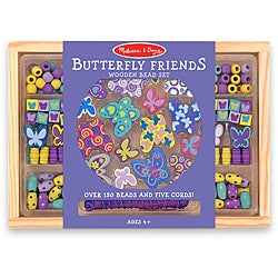 Melissa &amp; Doug Butterfly Friends Wooden Bead Set in Storage Case
