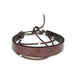 Sterling Silver Accent 'Brown Buoyancy' Leather Bracelet (Indonesia)