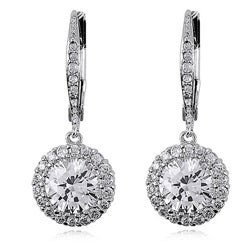 Collette Z Sterling Silver Clear Cubic Zirconia Round Drop Earrings
