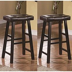 Saddle Black Brown 29-inch Bicast Leather Bar Stools Height (Set of 2)