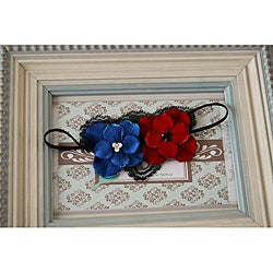 Red and Blue Velvet Flower Headband