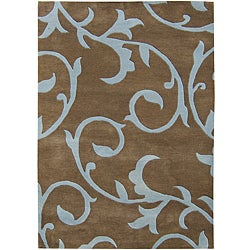 Sabrina Brown Handmade New Zealand Blend Wool Rug (8' x 10')