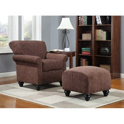 Portfolio Capri Brown and Carmel Woven Arm Chair and Ottoman
