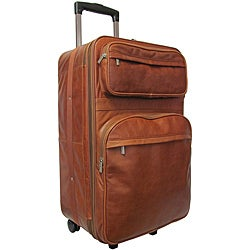 Amerileather Brown Leather 25-inch Expandable Wheeled Upright