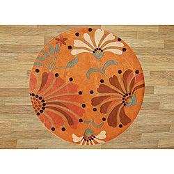 Alliyah Handmade Rust New Zealand Blend Wool Rug (6' Ft Rd')