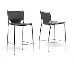 Montclare Black Leather Modern Counter Stools (Set of 2)