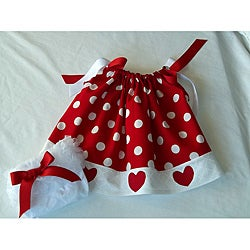 Just Girls Valentine's Dots and Hearts Dress with Ruffle Bloomers