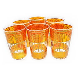 Set of Six Hand-Painted Gold and Bel Amber Tea Glasses (Morroco)