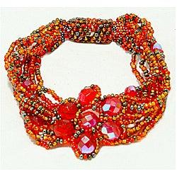 Orange and Yellow Glass Bead Magnetic Flower Bracelet (Guatemala)