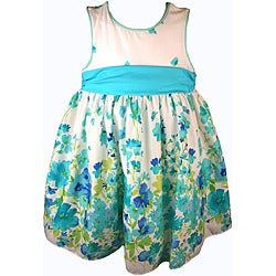 Good Lad Girl's Blue White Floral Print Dress