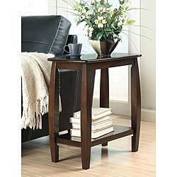 Dark Walnut Finish Wooden Chair Side End Table