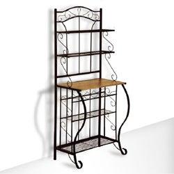 Black Metal and Oak 5-tier Baker Wine Storage Rack Shelf