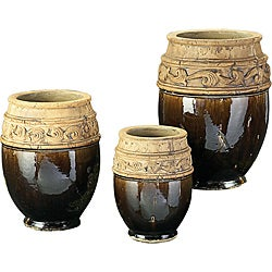 Mottled Moss Green Glaze Ceramic Vases (Set of 3)