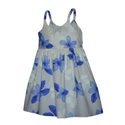 Hibiscus Shadows Girls Blue Bungee Strap Dress