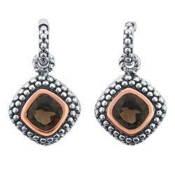 Meredith Leigh 14k Pink Gold and Sterling Silver Smoky Topaz Earrings