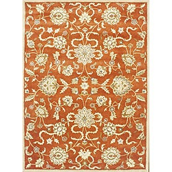 Alliyah Handmade Rusty Orange New Zealand Blend Wool Rug (9&#39; x 12&#39;)