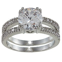 City by City City Style Silvertone Clear Cubic Zirconia Britney Engagement-style Ring