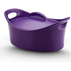 Rachael Ray Stoneware Casseroval Purple Covered Baking Dish
