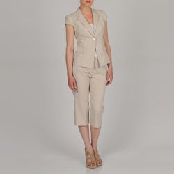 Signature by Larry Levine Women's Cap Sleeve Seersucker Capri Suit