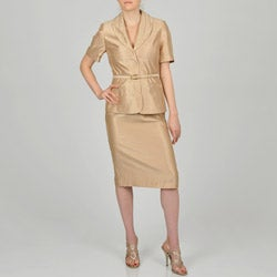 Signature by Larry Levine Women's Two-piece Gold Skirt Suit