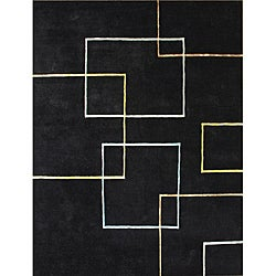 Hand-tufted Andy Black New Zealand Blend Wool Rug (5' x 8')
