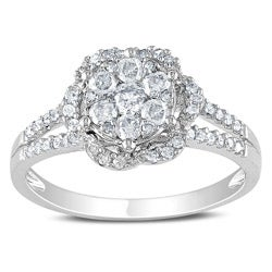 Miadora 14k White Gold 1/2ct TDW Diamond Flower Ring (G-H, I1-I2)