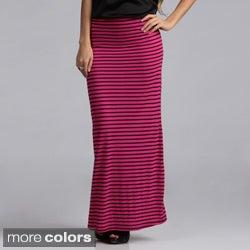 Tabeez Women's Striped Stretch Maxi Skirt