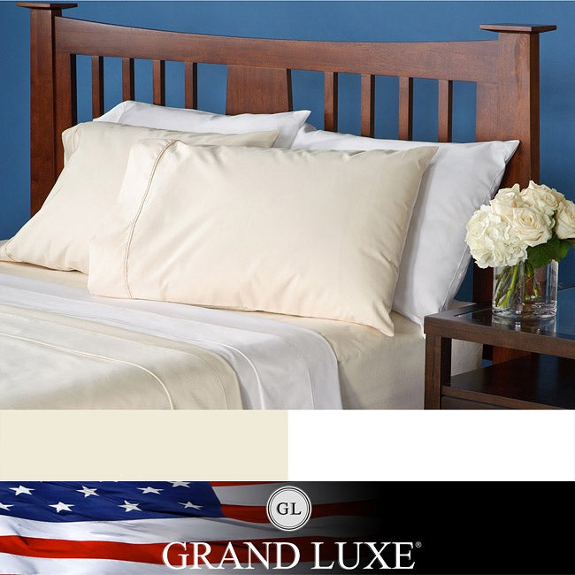 Grand Luxe Egyptian Cotton Solid Sateen 1200 Thread Count Deep Pocket Sheet Set and Pillowcase Separates