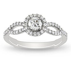 Miadora 18k White Gold 1/2ct TDW Diamond Engagement Ring (H-I, I1-I2)