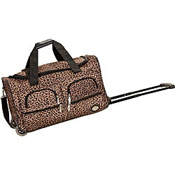 Rockland Deluxe 22-inch Leopard Carry-on Rolling Duffle Bag