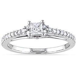 Miadora 14k White Gold 1/2ct TDW Princess Diamond Ring (H-I, I2-I3)