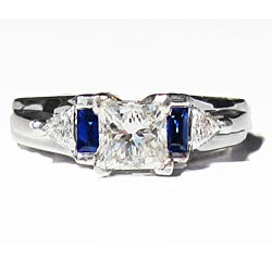 14k White Gold 1 1/2ct TDW Diamond and Sapphire Estate Ring (H-I, SI1-SI2)