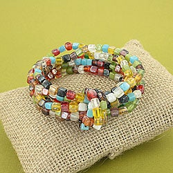 Handcrafted 'Symphony Knot' Multicolor Glass Bead Stretch Bracelet (India)