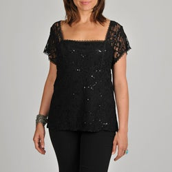 Onyx Nite Women's Plus Black Sequin Lace Top
