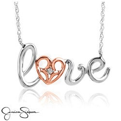 Jessica Simpson Sterling Silver and Gold Diamond Accent 'Love' Necklace
